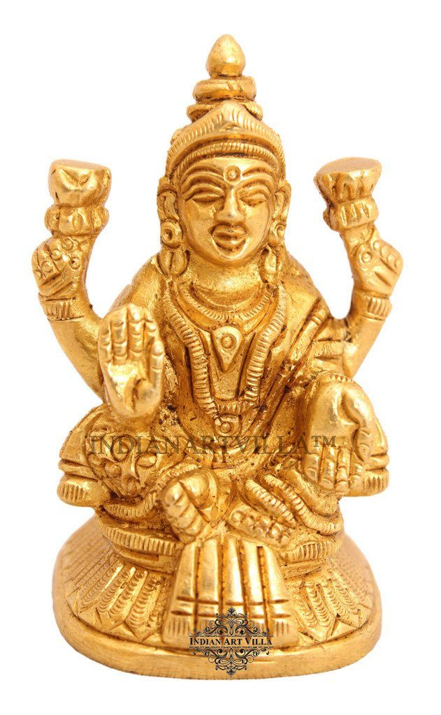 Beautiful Brass Goddess Laxmi Ji for Home Decor Temple Puja Gift Item
