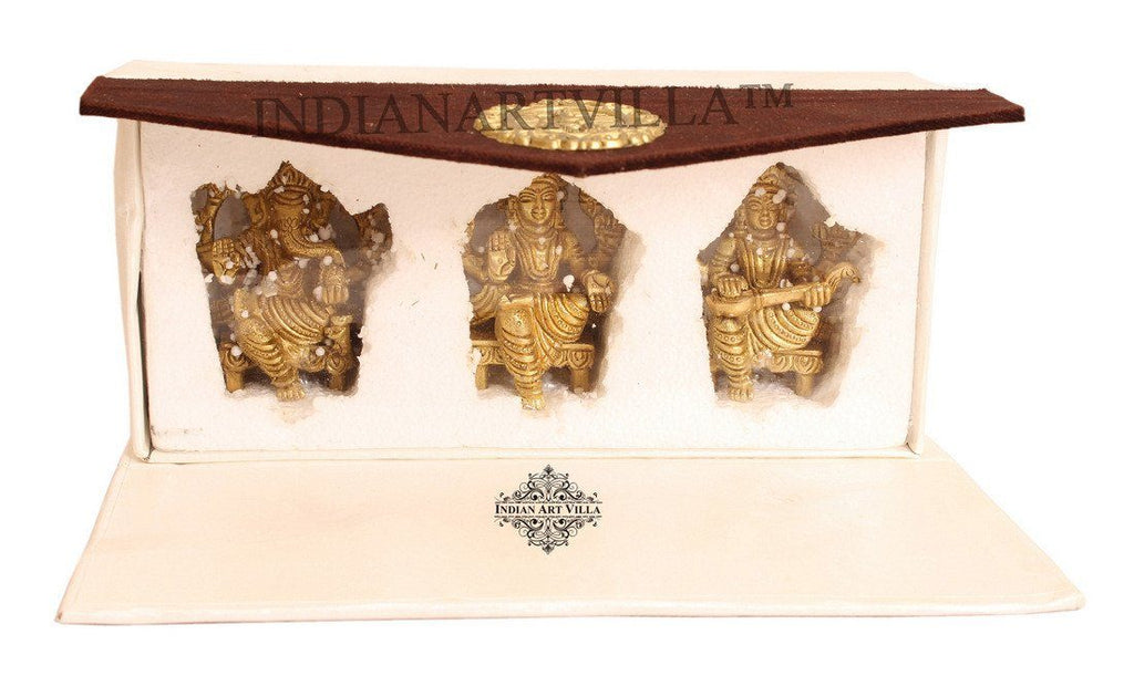 Beautiful Brass Set of Ganesh Ji Laxmi Ji Saraswati Ji With Gift Box Figurines Indian Art Villa