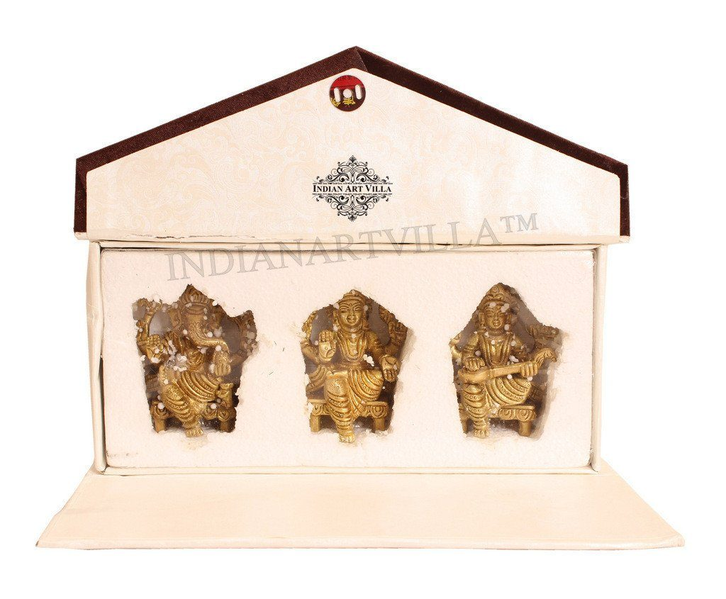 Beautiful Brass Set of Ganesh Ji Laxmi Ji Saraswati Ji With Gift  Box