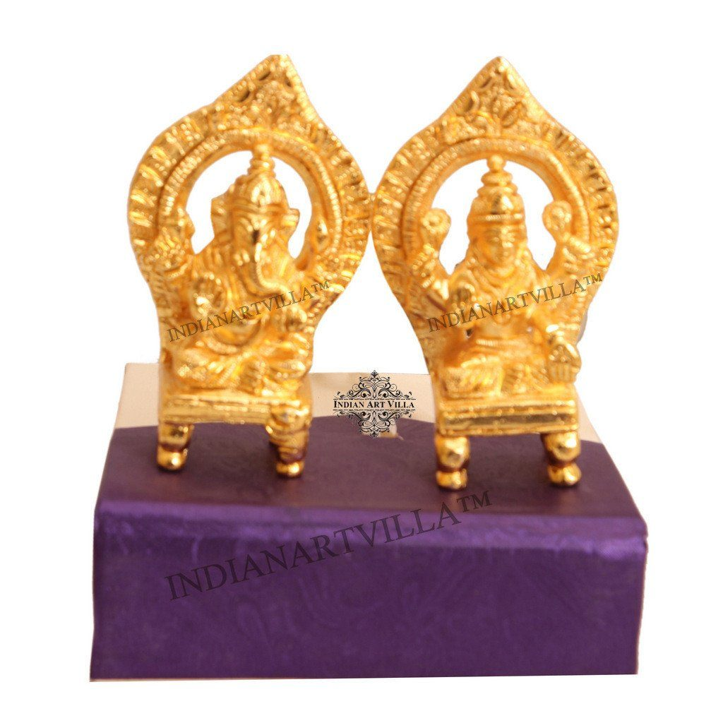 Beautiful Brass Set of Ganesh Ji Laxmi Ji With Gift Box Figurines Indian Art Villa