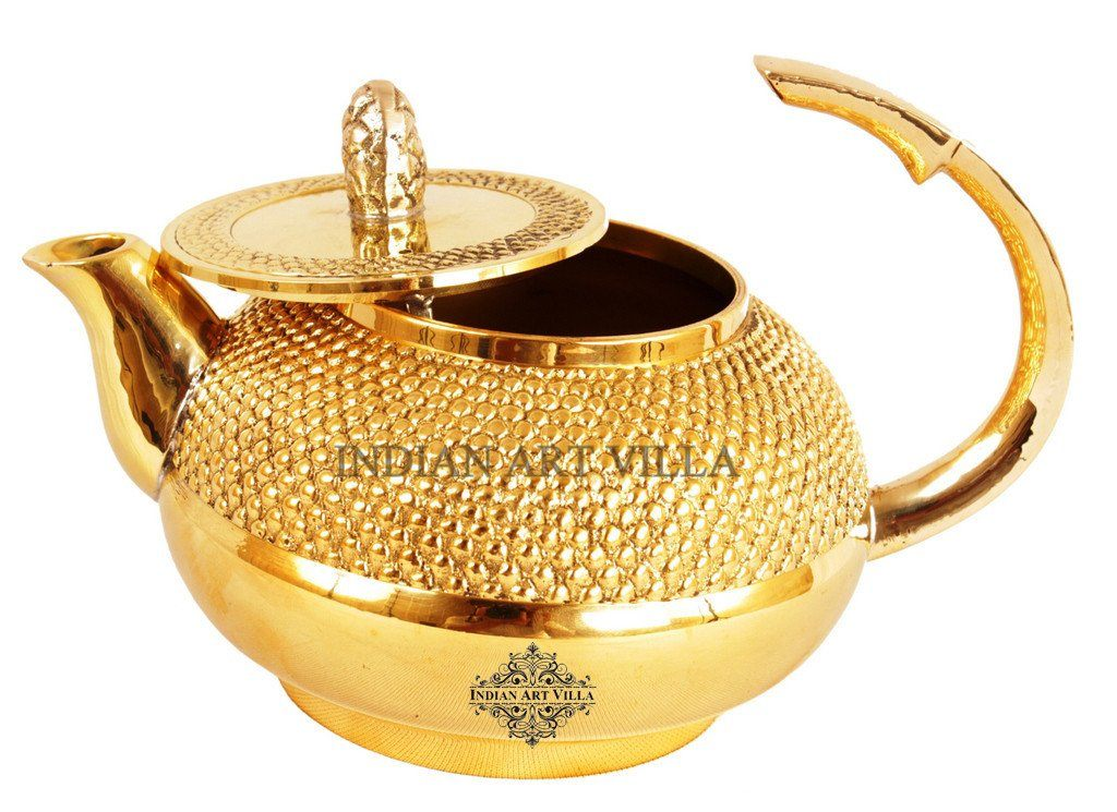 Beautiful Design Shining Brass Round Lining Tea Pot