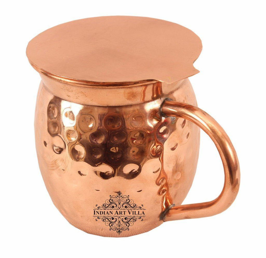 Big Top Copper Hammered Beer Mug with Coaster Coaster Beer Mugs Indian Art Villa