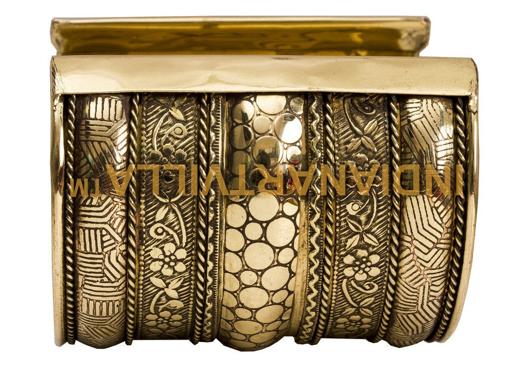Brass Antique Designer Openable Kada Bracelet | Collectible Gift Item | Width 7.5 Cms Bracelet Indian Art Villa