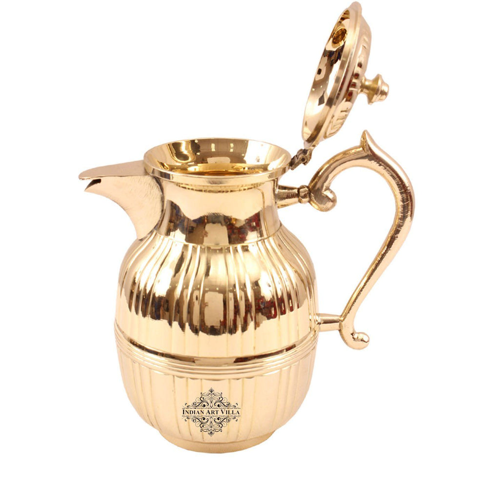 Brass Barrel Design Jug with Attach Lid 42 Oz