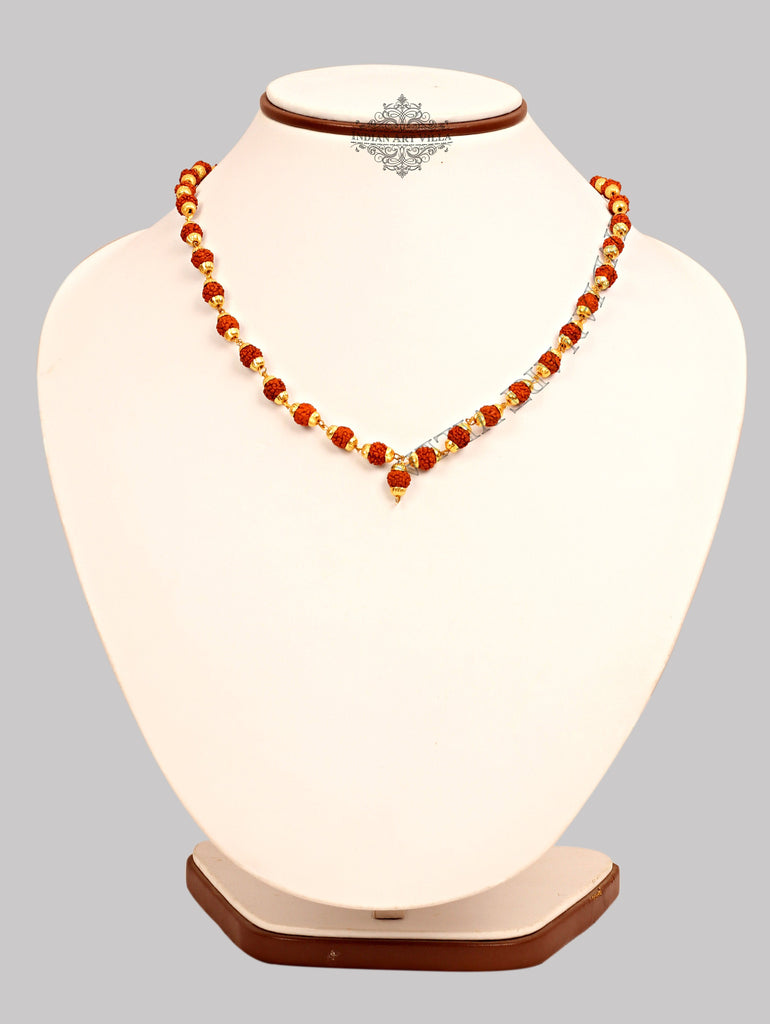 "Brass Bidding Rudraksh Mala Necklace, Men Accessory Gift Item Jewelry V-1 11.5"" Inch"