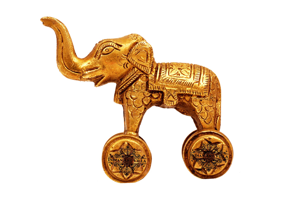 Brass Big Elephant With Wheel
