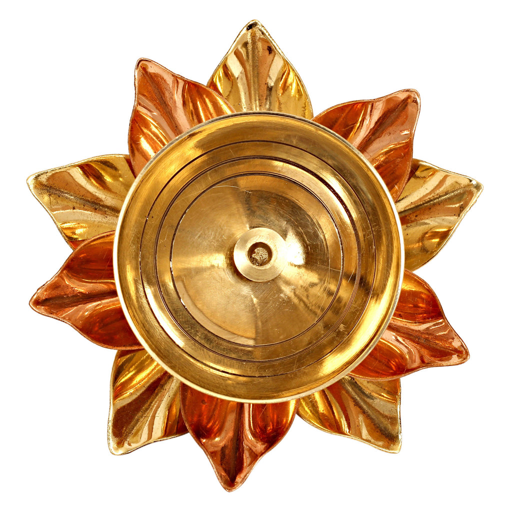 "Brass & Copper Plated Arti Diya Aarti Lamp BR-10 2.8"" Inch"