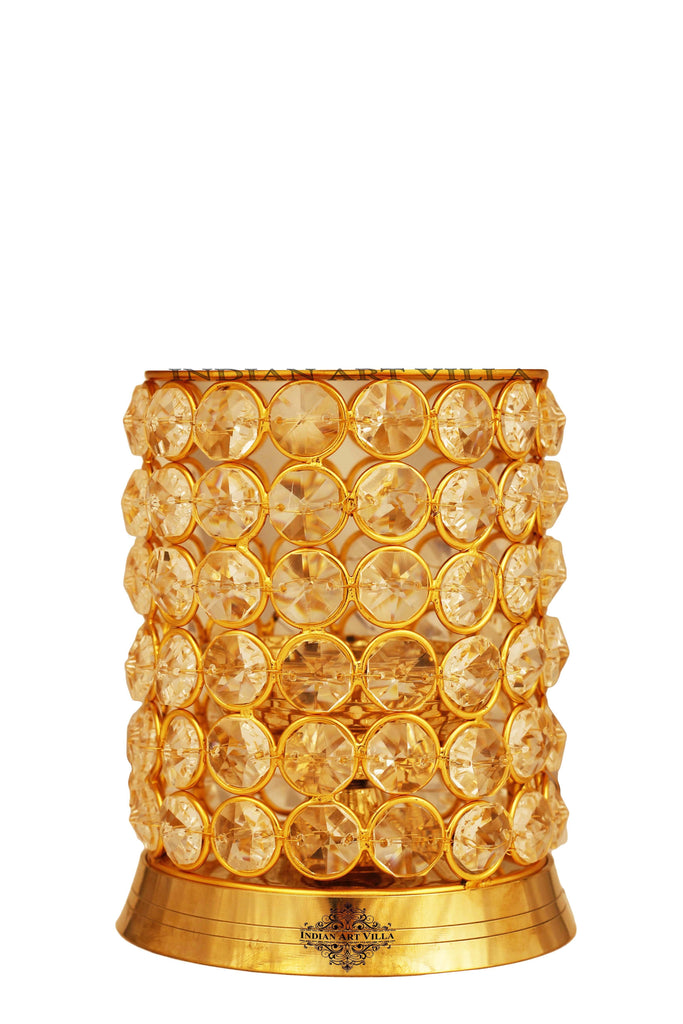 Brass Crystal Pillar Design Diya Aarti Lamp IAV-BR-11-104-