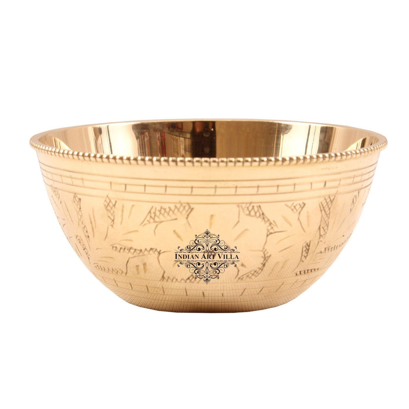 Brass Curved Design Serving Bowl Serving Dishes 8 Oz