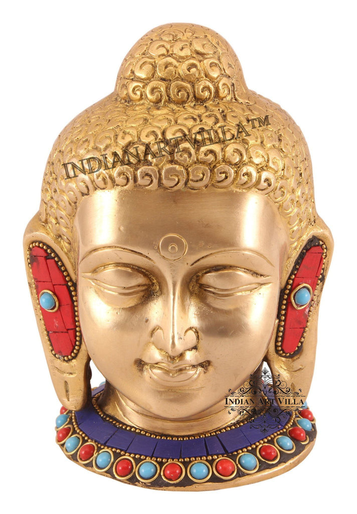 Brass Designer Acrylic Stone Work Buddha Head Figurines Indian Art Villa