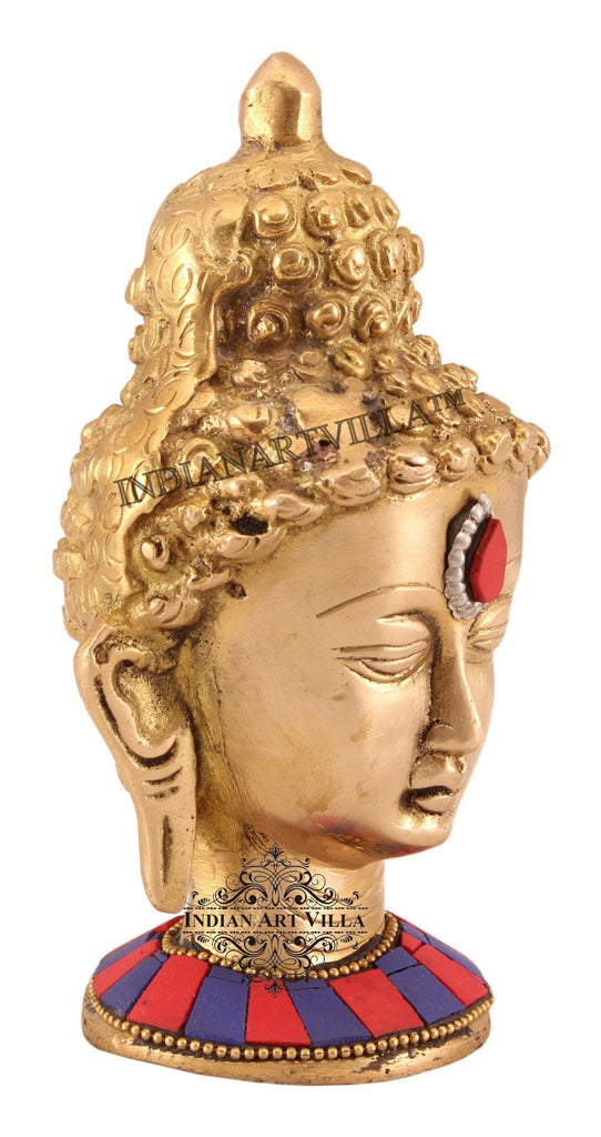 Brass Designer Acrylic Work Buddha Head Figurines Indian Art Villa