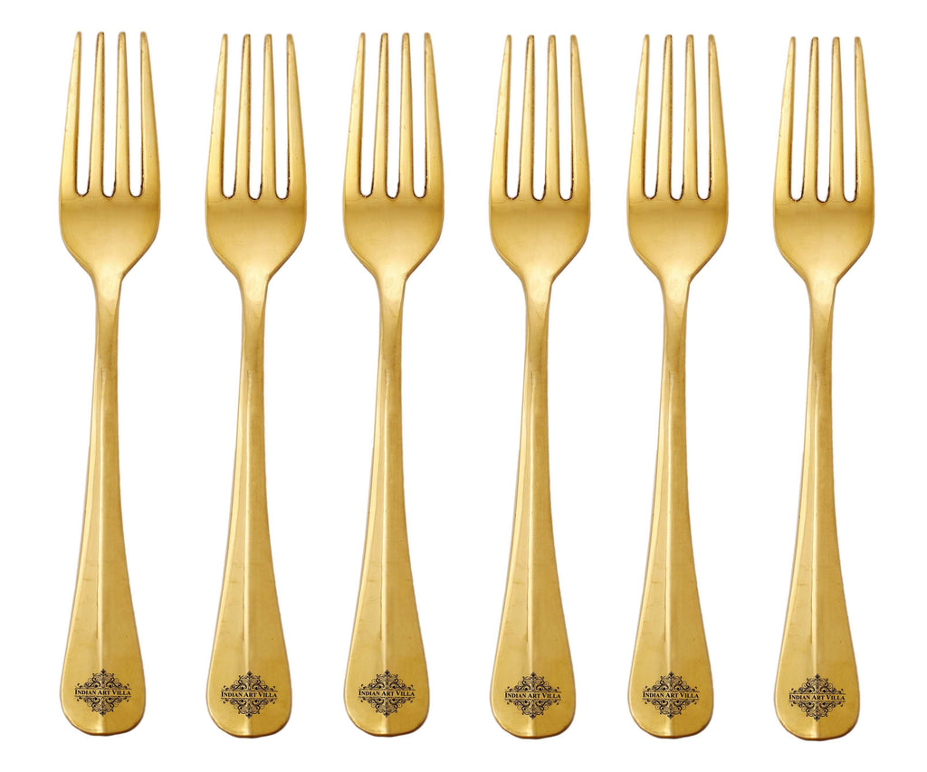 Brass Designer Fork, 7'' Inch, Set of Forks IAV-BR-1-175- 6 Pieces