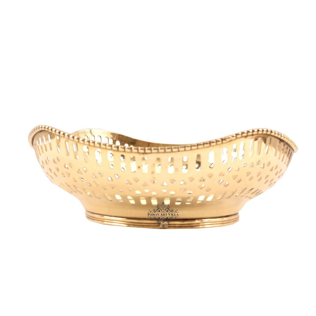 "Brass Designer Fruit Bowl Diameter 8.6"" Inch Brass Bowls Indian Art Villa"