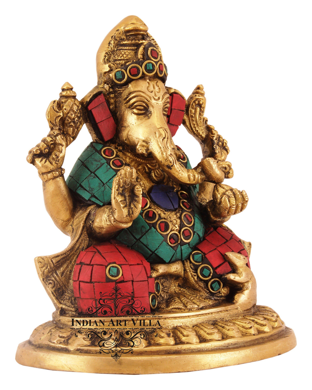 Brass Designer Lord Ganesha - Workship Poojan Temple Home Decorative Figurines BR-4
