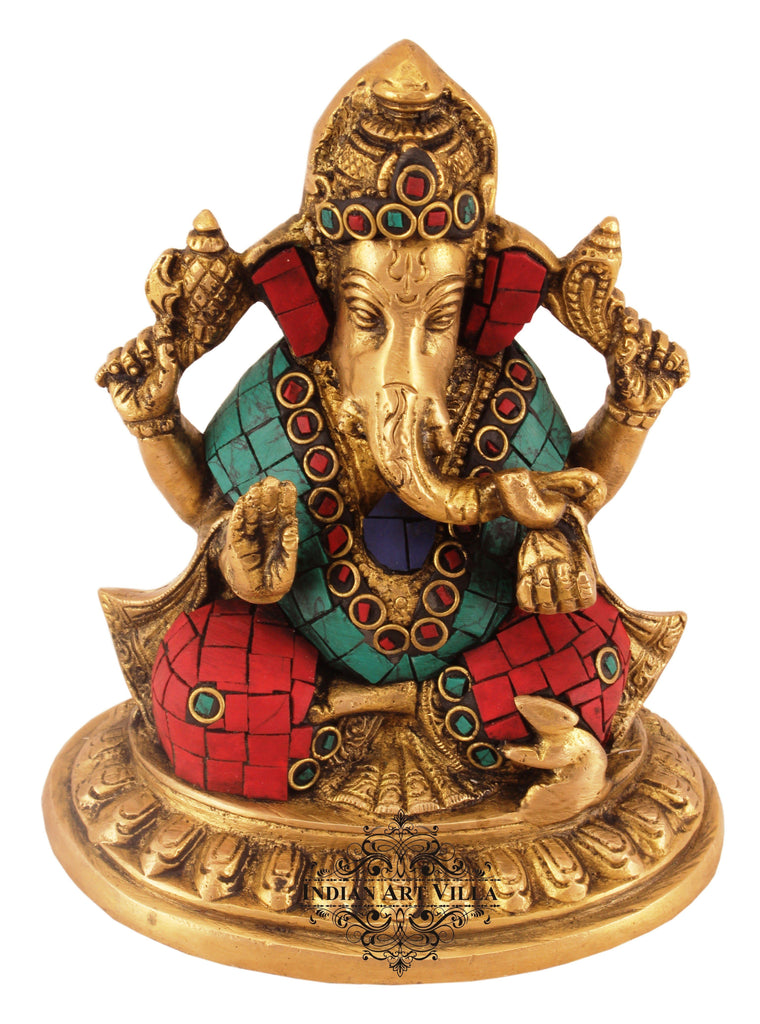 Brass Designer Lord Ganesha - Workship Poojan Temple Home Decorative