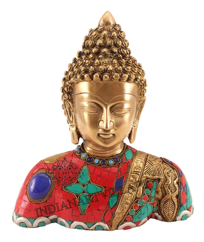 Brass Designer Stone Work Buddha Figurines Indian Art Villa