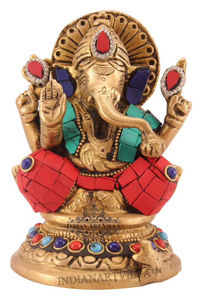 Brass Designer Stone Work Lord Ganesh Mangal Murti on Chowki