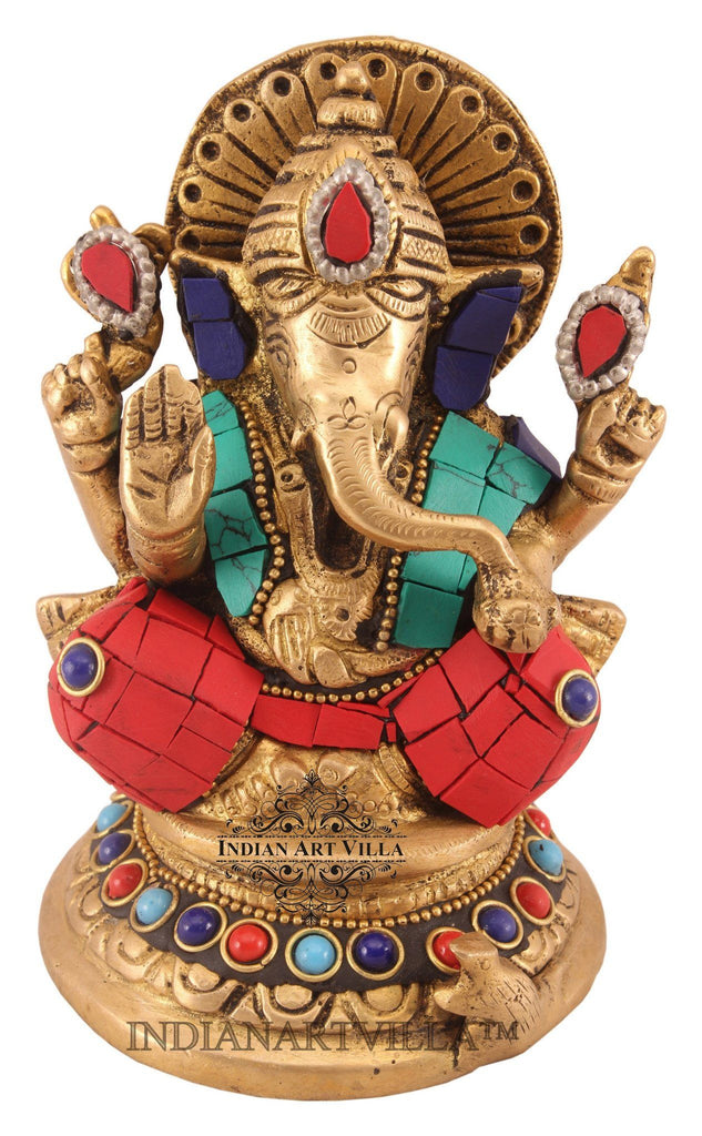 Brass Designer Stone Work Lord Ganesh Mangal Murti on Chowki Figurines Indian Art Villa