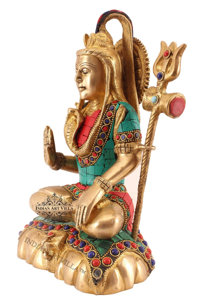 Brass Designer Stone Work Lord Shiva Mahakal Rudra Figurines Indian Art Villa