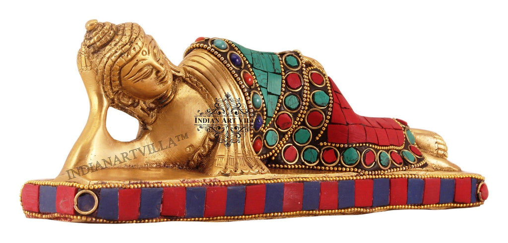 Brass Designer Stone Work Sleeping Buddha Figurines Indian Art Villa