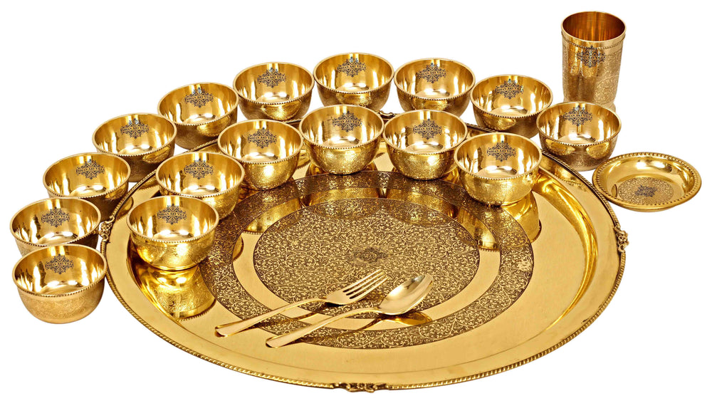 Brass Embossed 14 Pieace / 21 Pieces Dinner Set Brass Dinner Set IAV-BB-TW-111- 21 Pieces Set