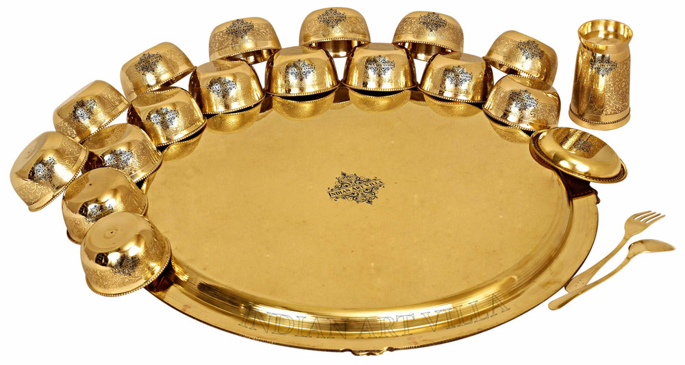 Brass Embossed 14 Pieace / 21 Pieces Dinner Set Brass Dinner Set IAV-BB-TW-111-