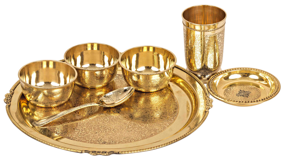 Brass Embossed Design 7 Piece Traditional Dinner Set Brass Dinner Set IAV-BB-TW-108