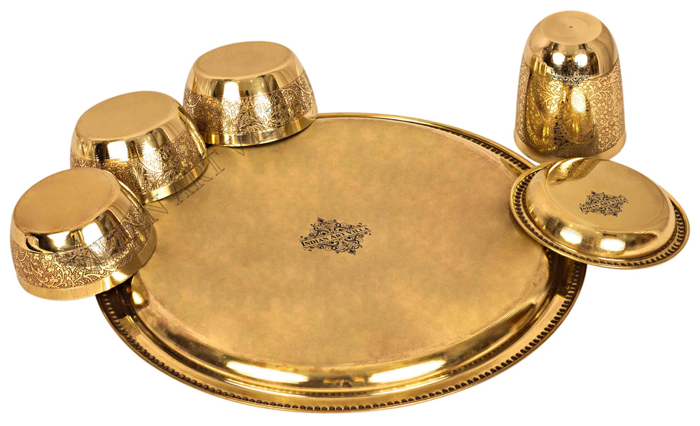 Brass Embossed Design 7 Piece Traditional Dinner Set Brass Dinner Set IAV-BB-TW-109