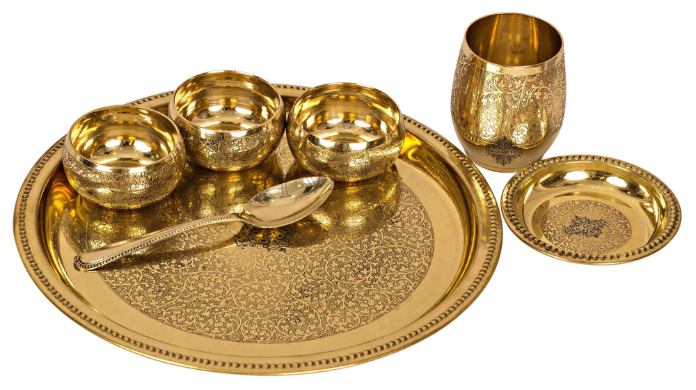 Brass Embossed Design 7 Piece Traditional Dinner Set Brass Dinner Set IAV-BB-TW-110
