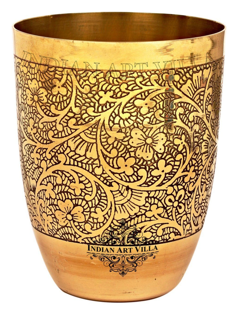Brass Embossed Design Glass Tumbler 11 Oz