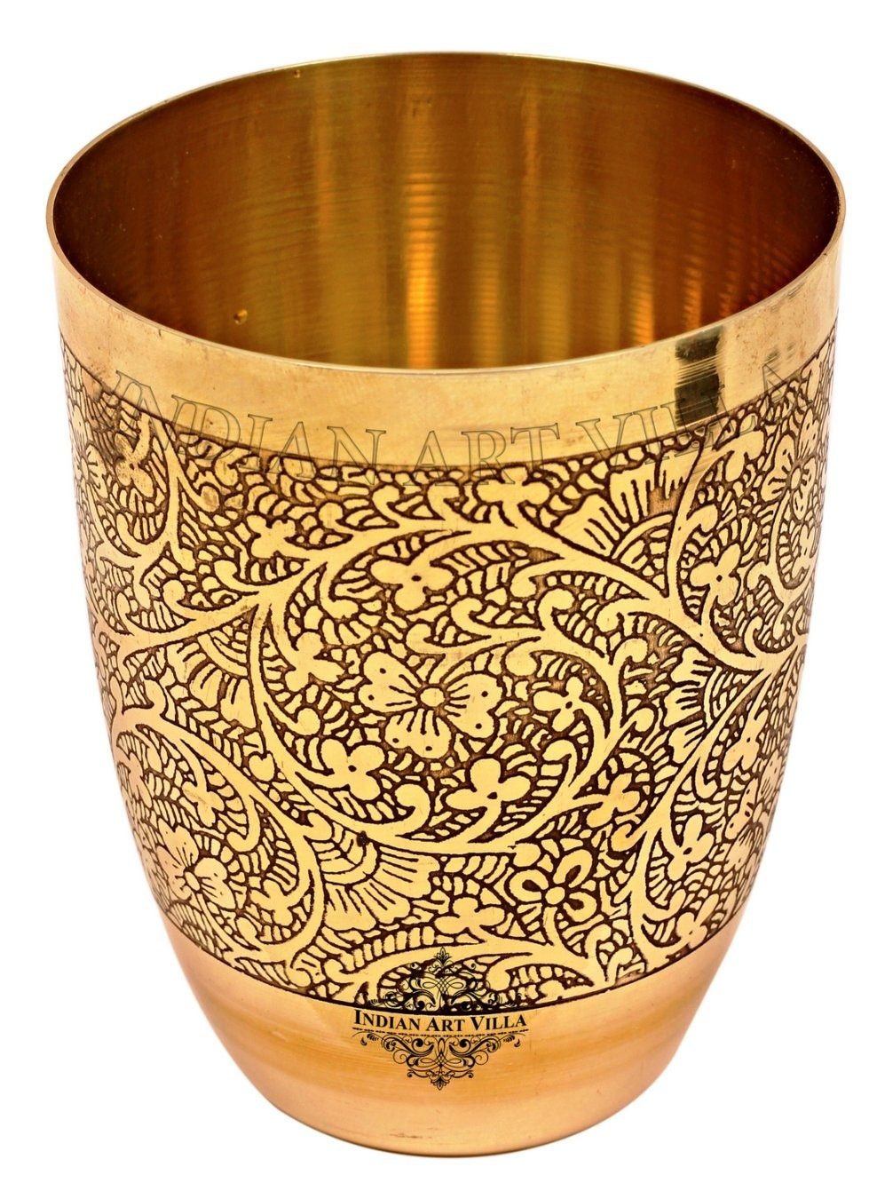 Brass Embossed Design Glass Tumbler 11 Oz Brass Tumblers IAV-BR-1-171