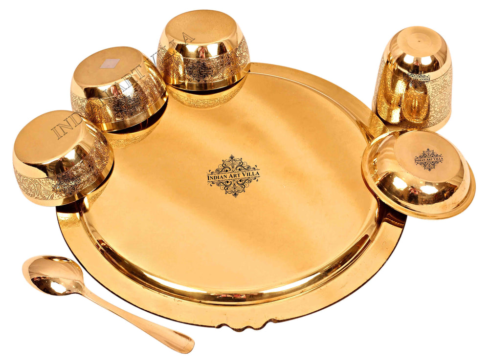 Brass Embossed Design Mughlai Style Dinner Thali Set ( 7 Pieces ) Brass Dinner Set IAV-BB-TW-106
