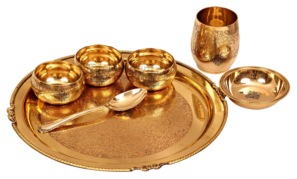 Brass Embossed Design Mughlai Style Dinner Thali Set ( 7 Pieces ) Brass Dinner Set IAV-BB-TW-107
