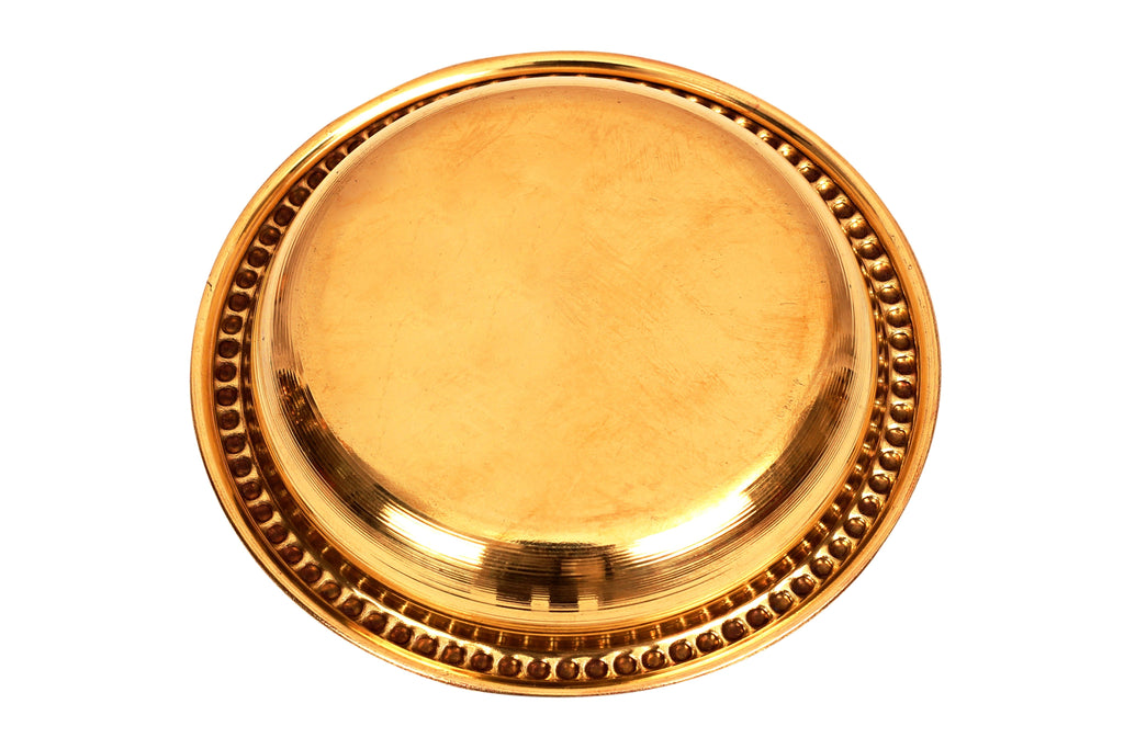 "Brass Embossed Design Rice Plate Pudding Plate, Serveware, Diameter 4.5"" Brass Plates BR-1"