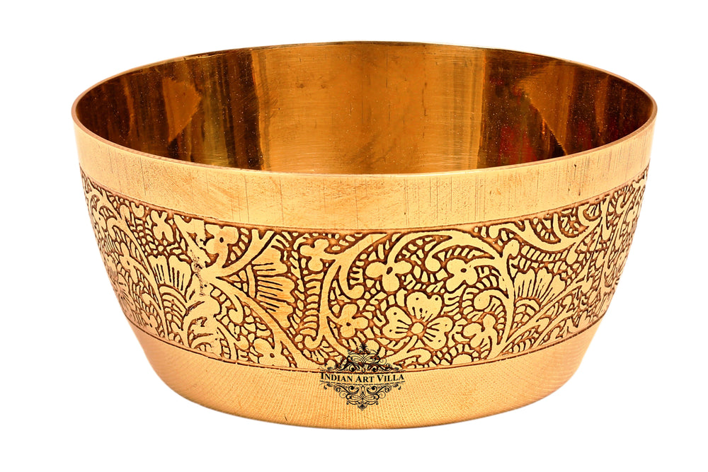 Brass Embossed Design Serving Bowl, Serveware 200 ML Brass Bowls BR-1