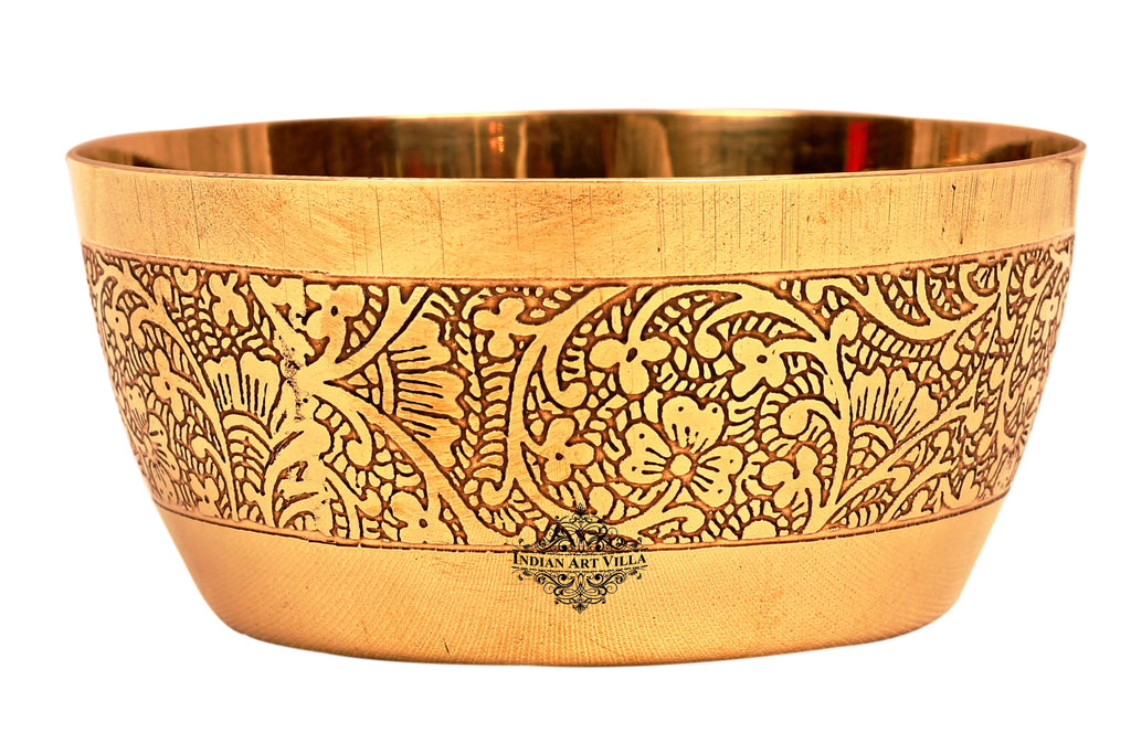 Brass Embossed Design Serving Bowl, Serveware 200 ML