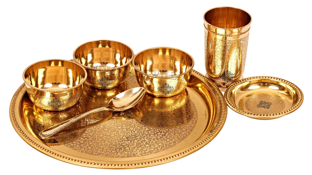 Brass Embossed Design Traditional Dinner Thali Set ( 7 Pieces ) Brass Dinner Set IAV-BB-TW-105