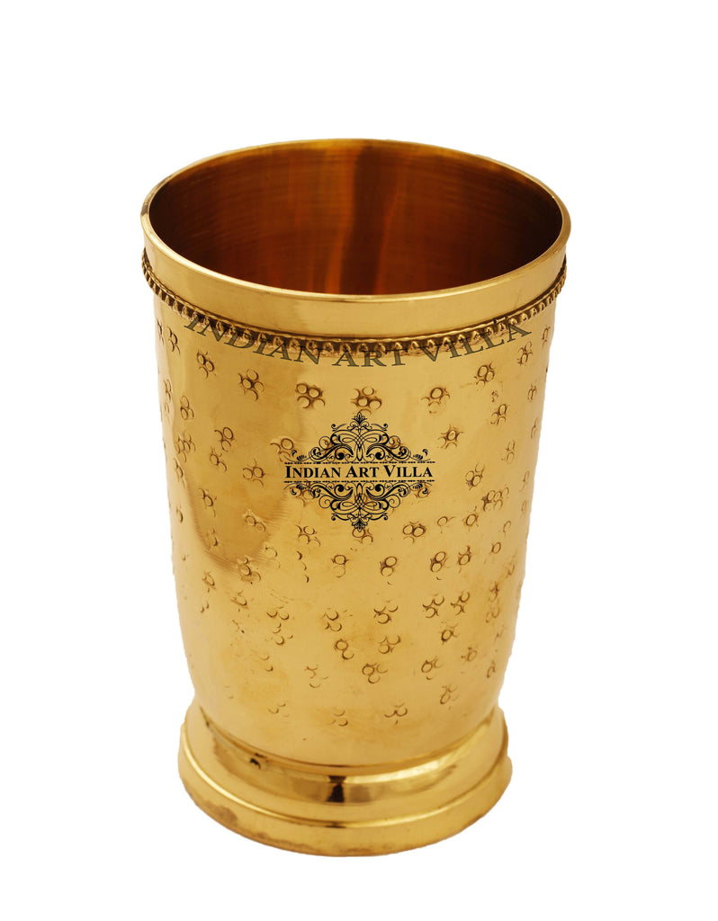 Brass Cup Tumbler Embossed Flower Design, 10 Oz