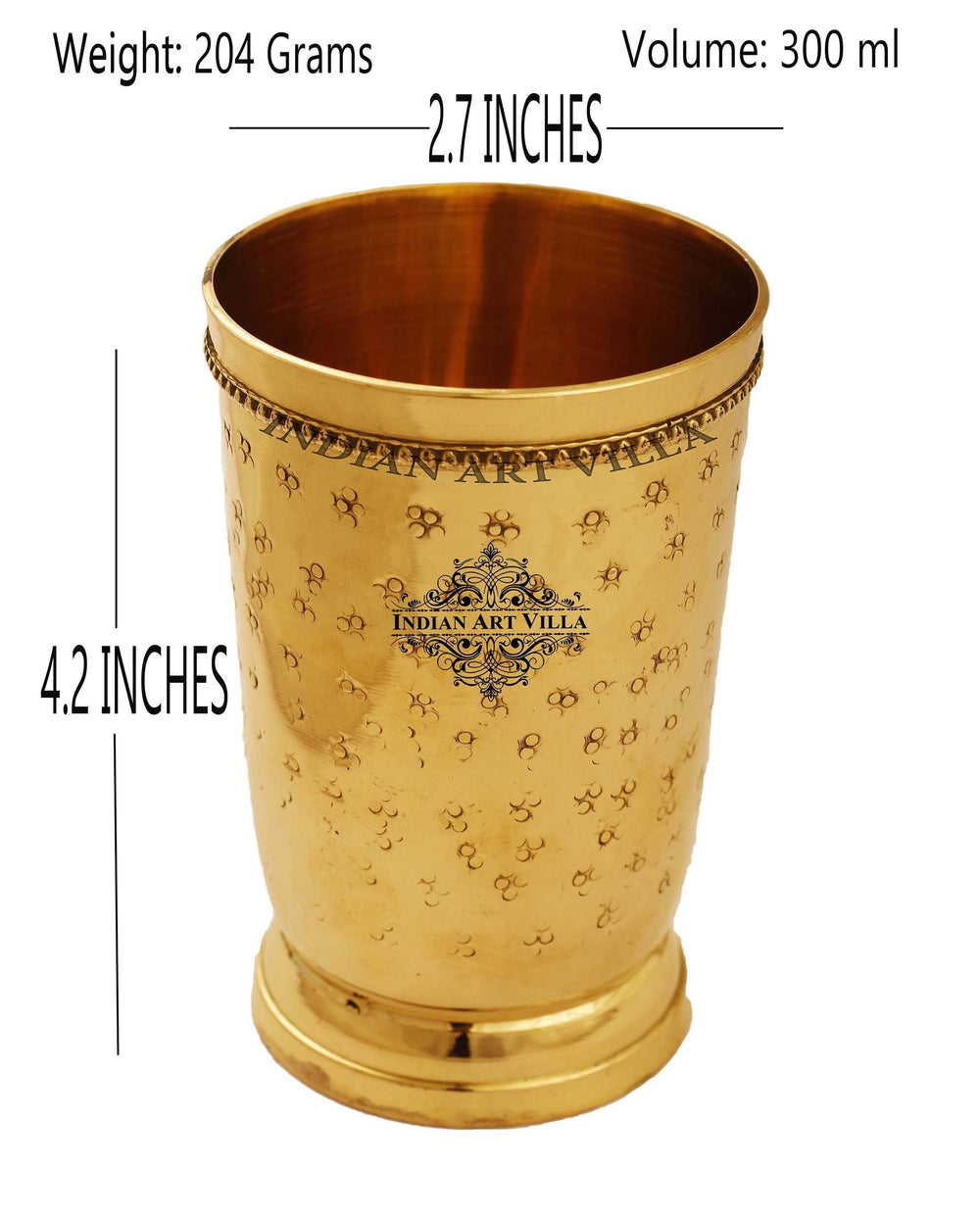Brass Embossed Flower Design Glass, 10 Oz Brass Tumblers IAV-BR-1-184