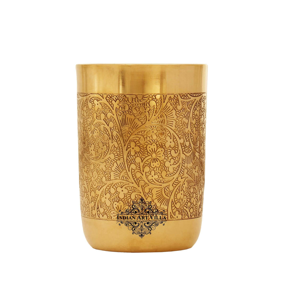 Brass Cup Tumbler Glass, Embossed Flower Design, 10 Oz, Drinkware, Gold