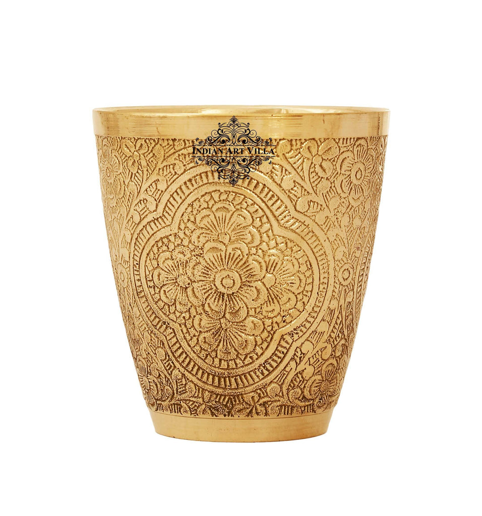 Brass Cup Tumbler Glass, Embossed Flower Design, 9.46 Oz