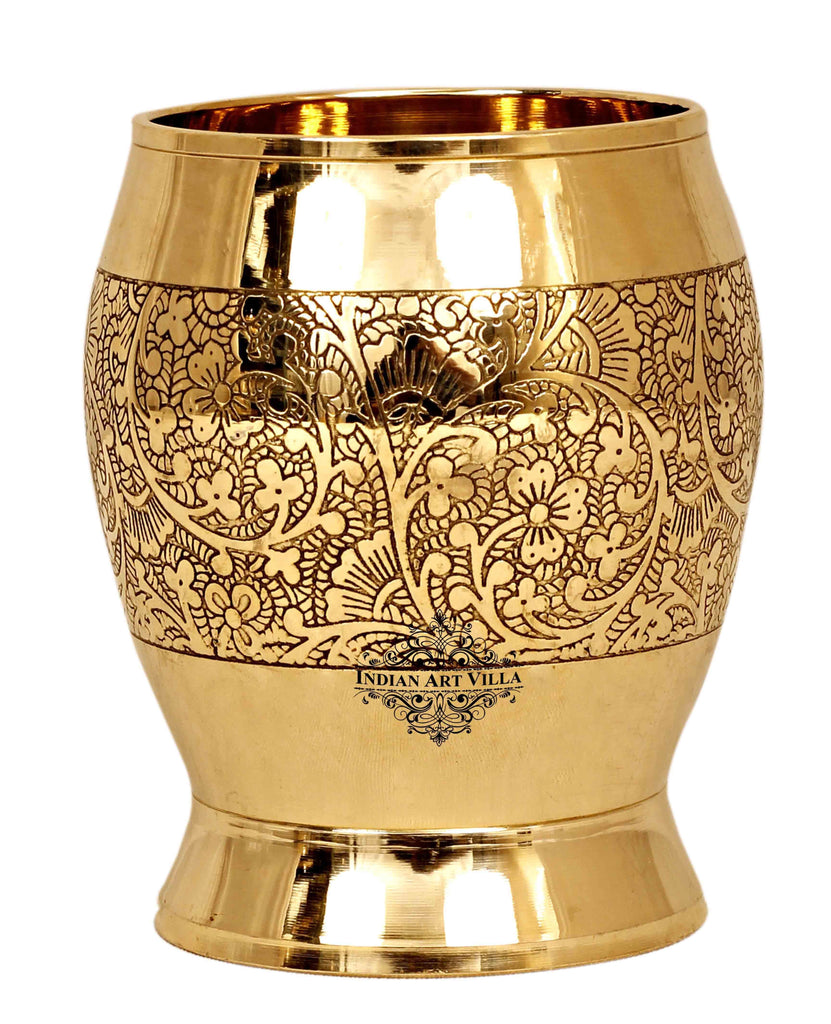 Brass Cup Tumbler Glass, Embossed Flower Design, 10 Oz