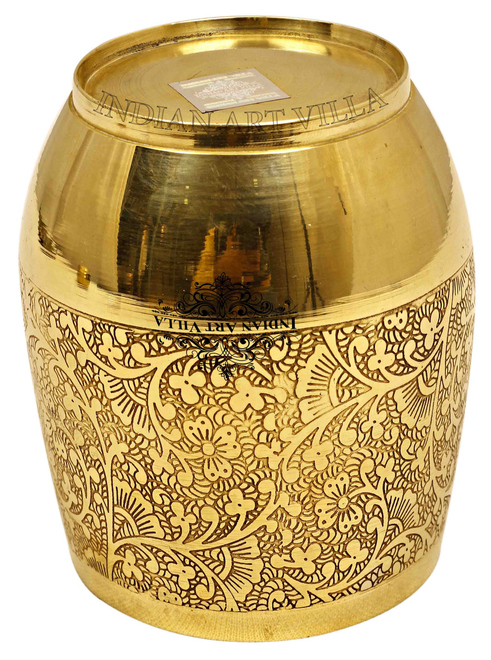 Brass Embossed Flower Design Glass Tumbler Brass Tumblers IAV-BR-1-173
