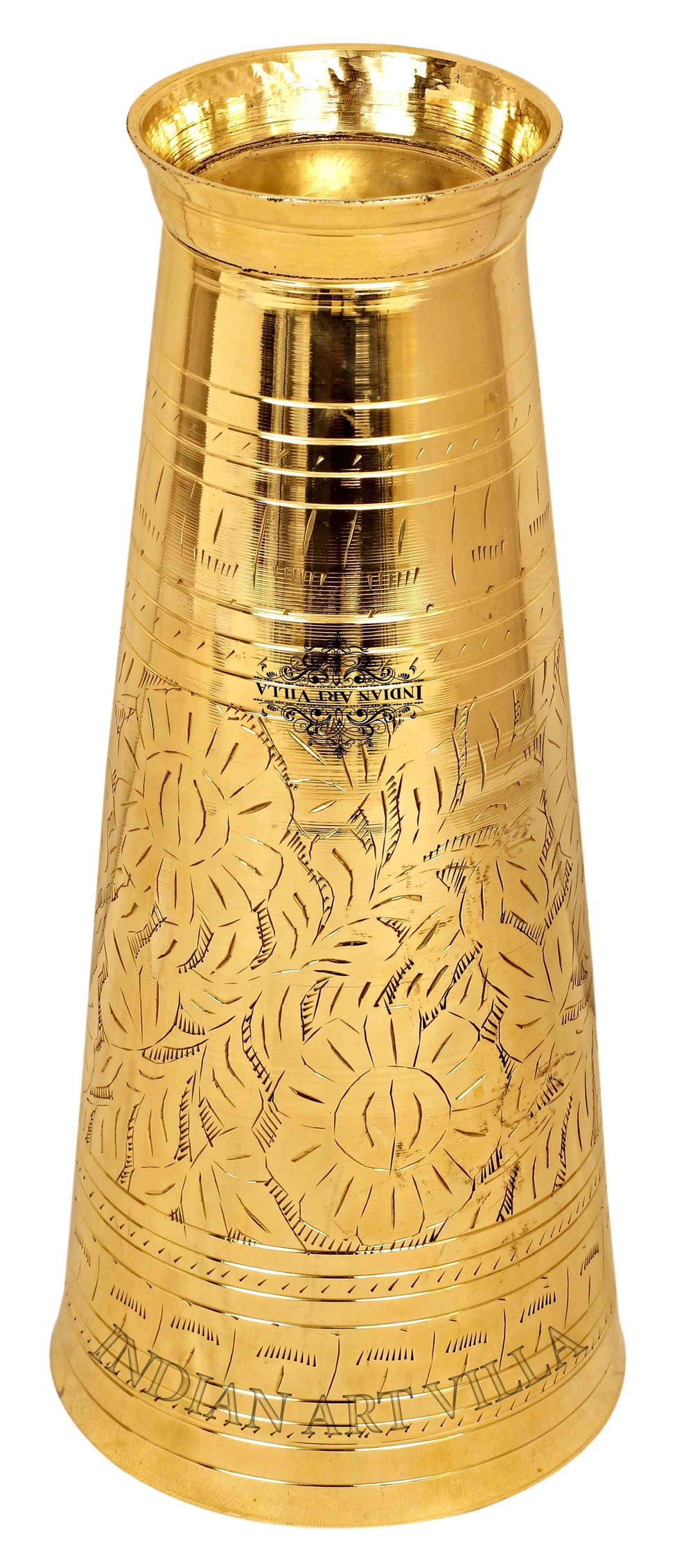 "Brass Embossed Flower Design Lassi Grass Tumbler, Height - 4.5'' Inch | 5"" Inch 