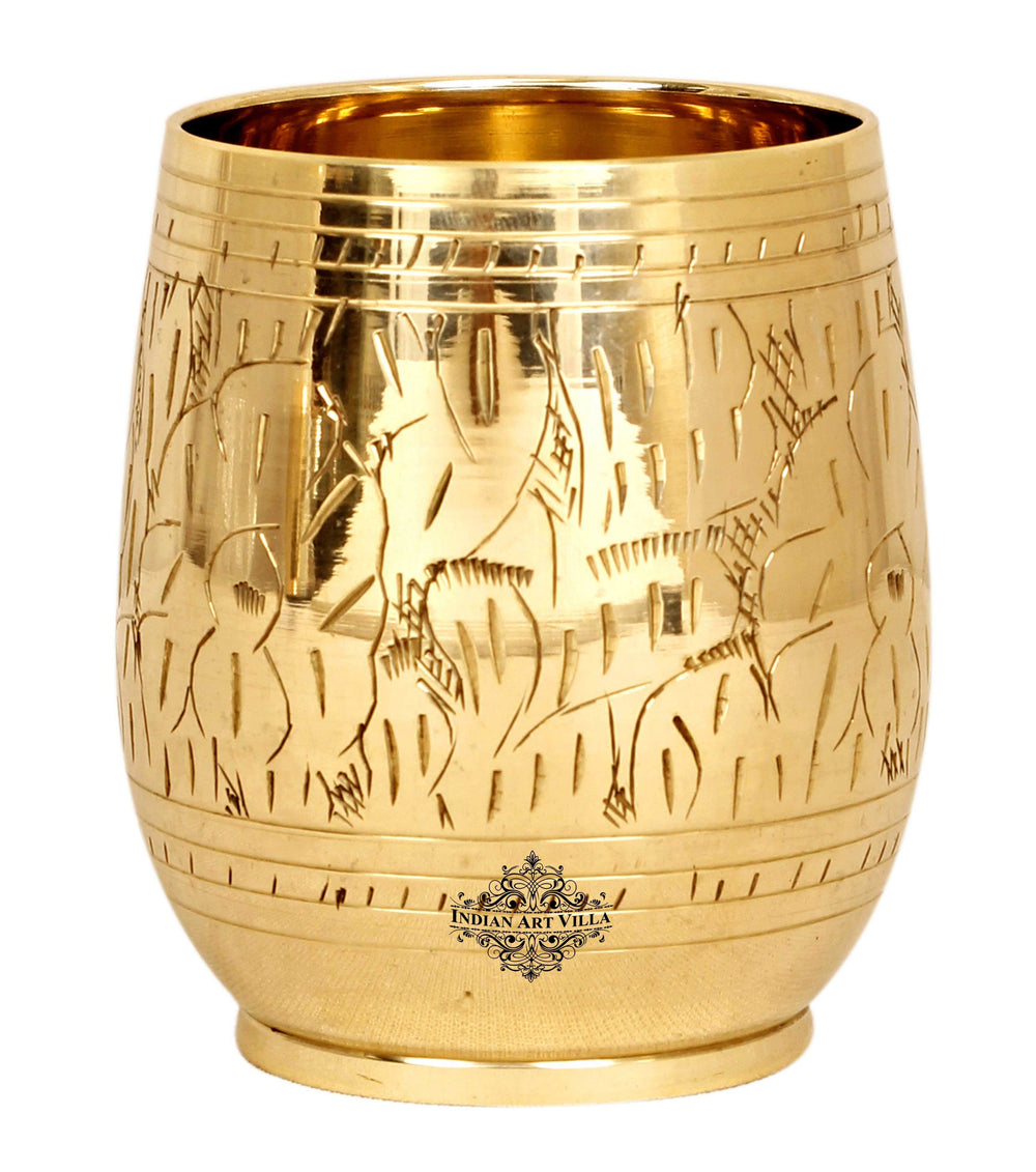 Brass Engraving Leaf Design Glass Tumbler