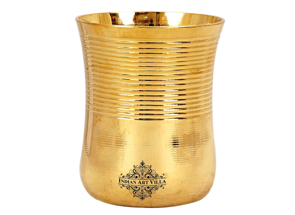 Brass Half Lining Design Glass Tumbler Cup, Serving Drinking Water, 350 ML