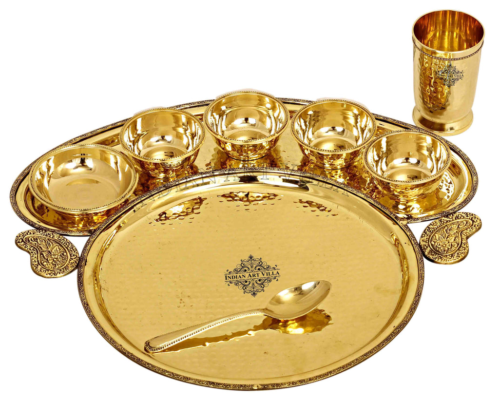 Brass Hammered Maharaja Design 8 Piece Dinner Set Brass Dinner Set IAV-BB-TW-112