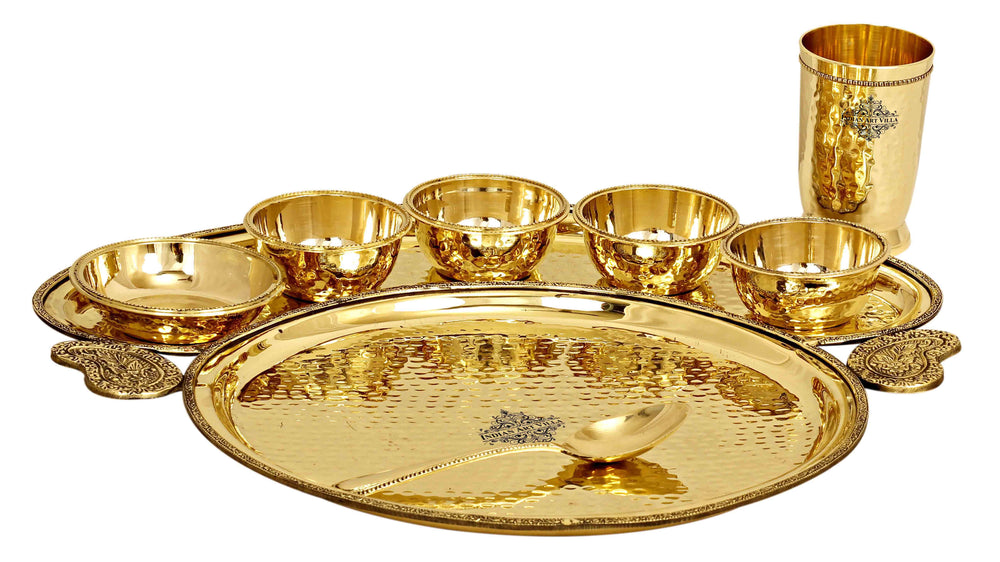 Brass Hammered Maharaja Design 8 Piece Dinner Set