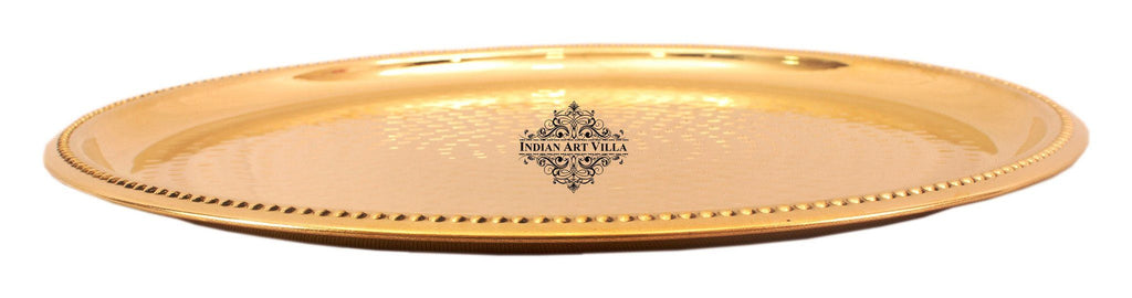 Brass Hammered Serving Plate Tray Brass Plates Indian Art Villa