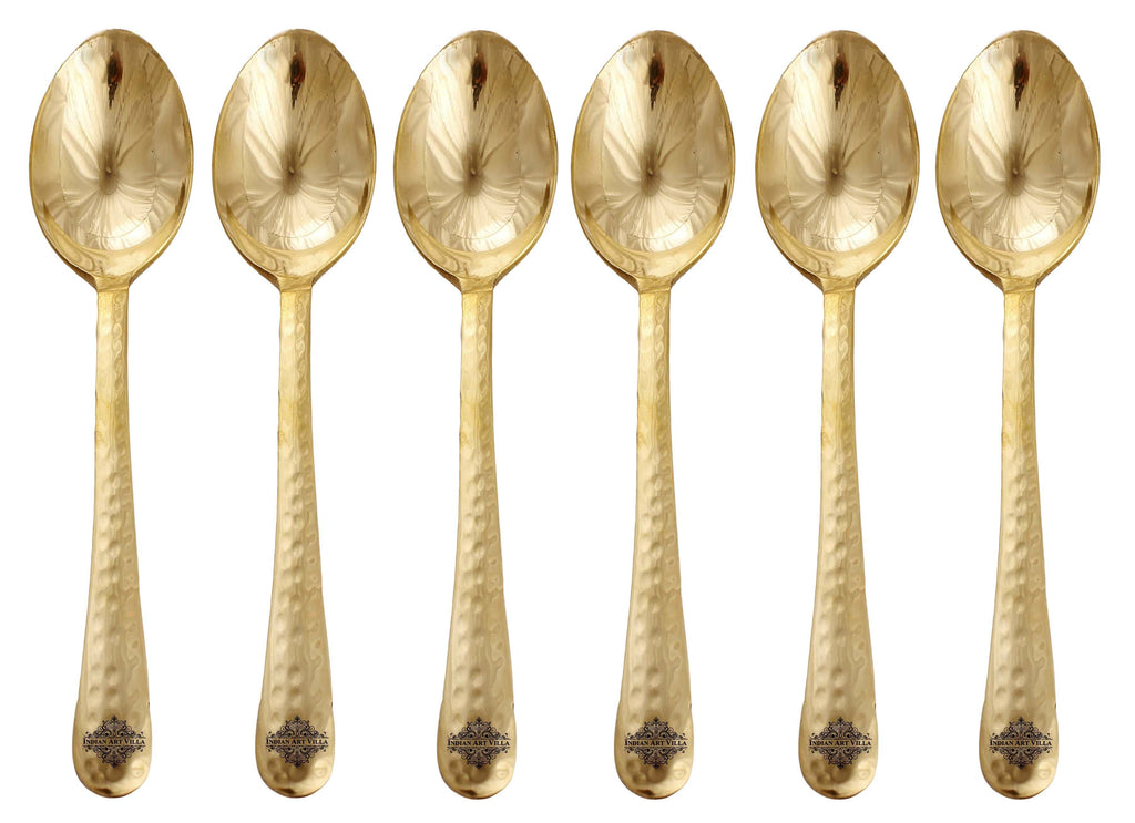 Brass Hammered Spoon, Set of Spoons IAV-BR-1-176- 6 Pieces